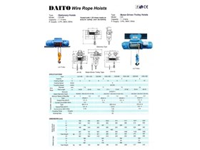 DAITO ELECTRIC WIRE ROPE HOIST 2 TON 6 METER