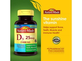 Nature Made Vitamin D3 25 mcg., 650 Softgels.