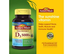 Nature Made Vitamin D3 5000IU, 220 Softgels.