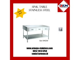 KITCHEN CORNER WORKING TABLE DENGAN LACI/ DRAWER STAINLESS STEEL
