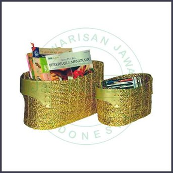 Recycled plastics garbage storage basket set of 2