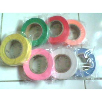 Pita Survey Flagging Tape Warna Merah Hijau Kuning Biru, dll