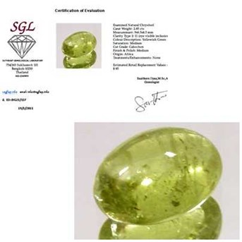 Natural Yellowish Green Chrysoberyl