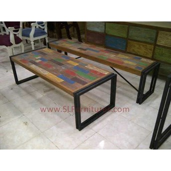 JUAL FURNITURE ANTIK JEPARA: Meja Kopi Kayu Jati Bekas Model Patchwork dengan Frame Besi ( Recycle Teak Coffee Table Patchwork Style with Iron Frame Support)