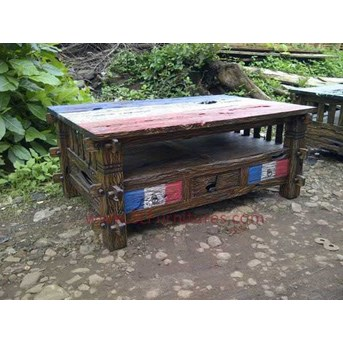 JUAL FURNITURE ANTIK JEPARA: Meja Kopi Kayu Jati Bekas Rastik 3 Laci ( Recycle Teak Coffee Table Rustic with 3 Drawers)