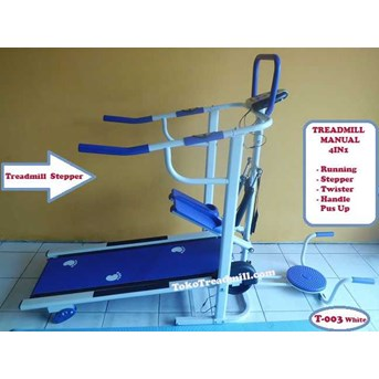 Treadmill Manual 4 Fungsi T-003 White ( Alat Treadmill Anti Gores)