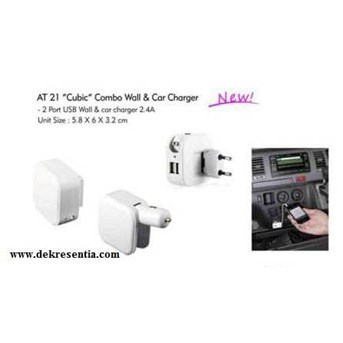 AT 21 Cubic combo wall & car charger