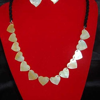 Love Art Round Necklace Bead / Kalung Set Jantung
