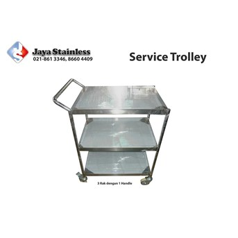 Trolley stainless 3 susun / 1 handle