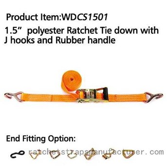 WDCS1501 polyester Ratchet Tie down with J hooks and rubber handle