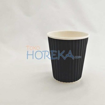 Paper Cup 8 Oz Double Wall Ulir/Ripple/Gelombang Coklat
