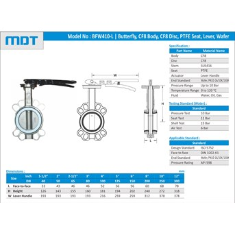 MDT | BFW410-P-L | Butterfly Valve, PTFE Seat, Lever