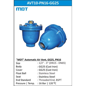 MDT | AVT10-PN16-GG25| Automatic Air Vent, GG25, PN16