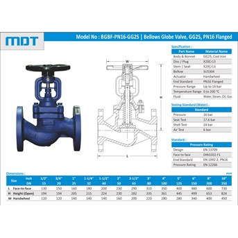 MDT | BGBF-PN16-GG25 | Bellows Seal Globe Valve, GG25, PN16