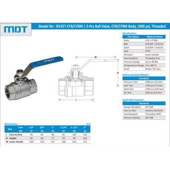 MDT | BV2ET-CF8 | 2-Pcs Ball Valve, CF8, Full Bore