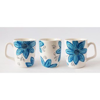 12oz mug PS199 Colorfull Flower Blue / Red / Yellow