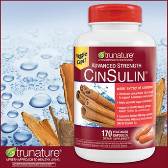 Trunature Advanced Strength CinSulin, 170 Capsules