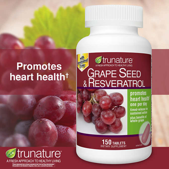 Trunature Grape Seed & Resveratrol, 150 Timed-Release Tablets.
