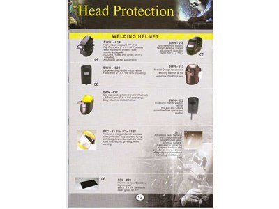 HEAD PROTECTION : WELDING HELMET ( SWH - 610, SWH - 618, SWH - 622, SWH - 613, SWH - 637, SWH - 623, PFC - 83 SIZE 8