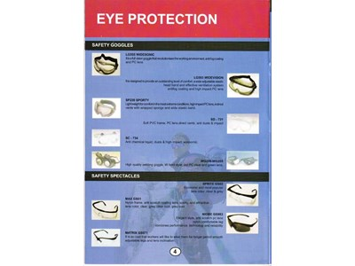 EYE PROTECTION : SAFETY GOGGLES ( LG505 WIDESONIC, LG503 WIDEVISION, SP230 SPORTY, SD - 731, SC - 734, WG209-WG205 ) & SAFETY SPECTACLES ( SPRITE GS02, MAX GS01, NIOBE GS983, MATRIX GS571 )
