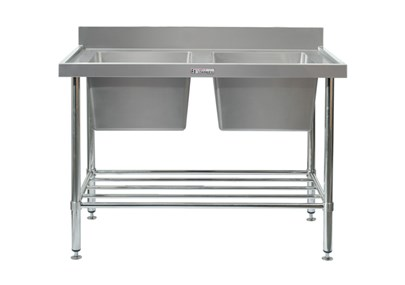 DOUBLE SINK BENCH WITH SPLASH BACK