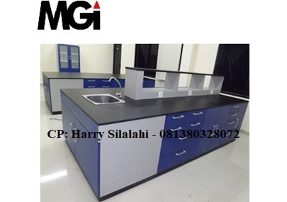 Island Bench with Sink and Rack / Meja Lab Ruangan Tengah dengan Sink dan Rak