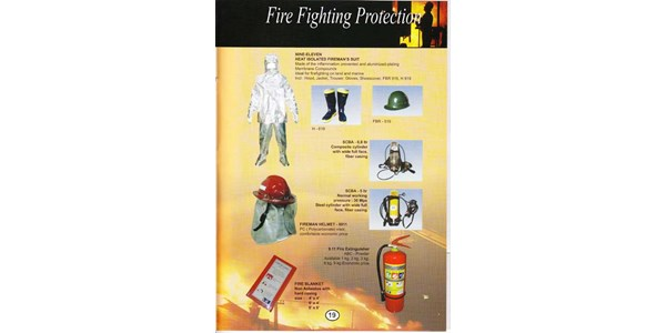 fire fighting protection : nine-eleven heat isolated firemans suit, scba-6,8 ltr composite cylinder, scba-5ltr steel cylinder, fireman helmet - 8911, 9.11 fire extinguisher, fire blanket