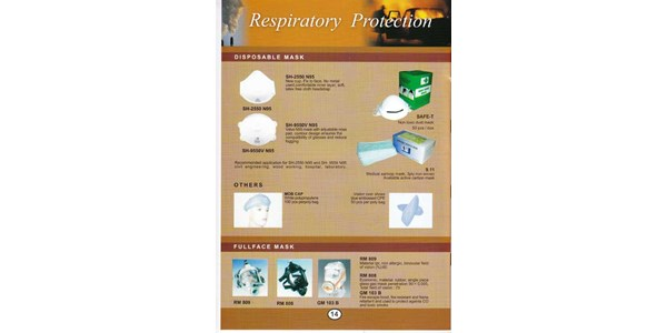 respiratory protection : disposable mask, mob cap, fullface mask
