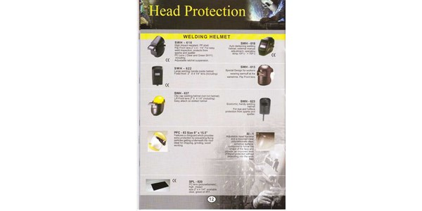 head protection : welding helmet ( swh - 610, swh - 618, swh - 622, swh - 613, swh - 637, swh - 623, pfc - 83 size 8 x 15.5, si - 1, spl - 020