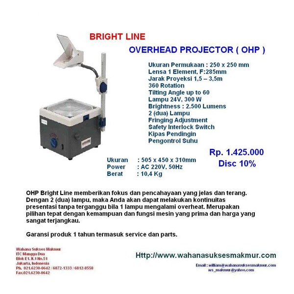 ohp overhead projector bright line