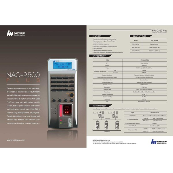 nitgen nac 2500 plus fingerprint access control + time attendance