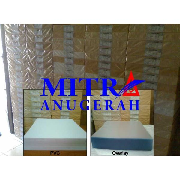 bahan id card pvc core 0.3 offset & overlay film coated offset