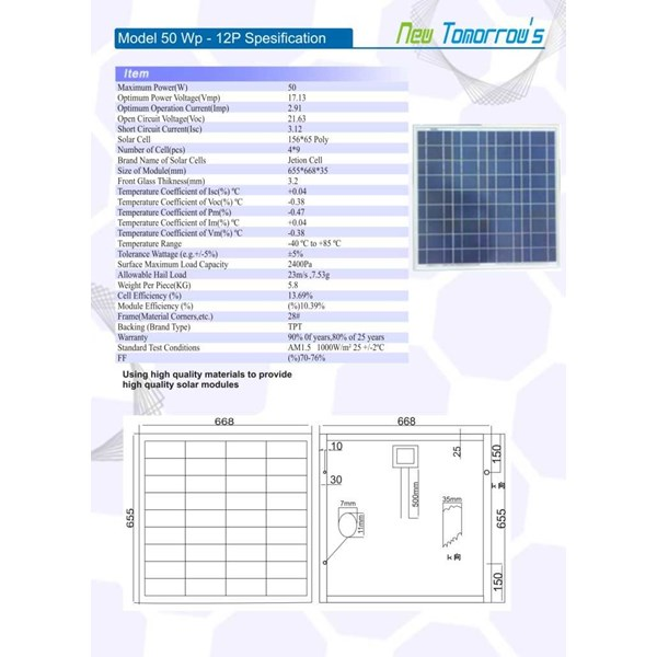 jual solarcell 50 wp, solar cell 50 wp, panel surya 50 wp-1
