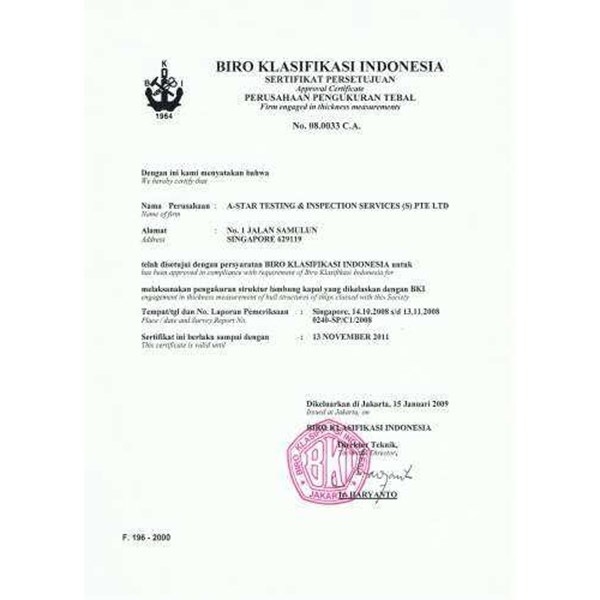 Jual We Service For CERTIFICATE FOR SHIPPING BKI NKK Etc