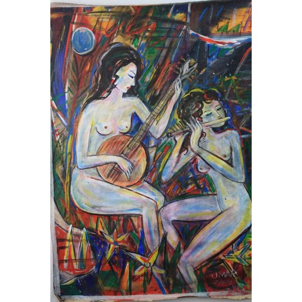 lukisan umar sumarta : woman playing music ( mandolin and flute, 2001, bersertifikat) 136 cm x 97 cm