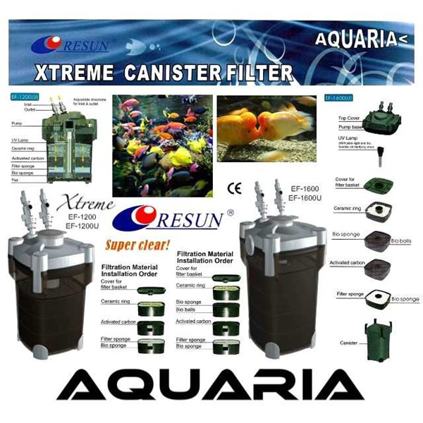 resun external filter xtreme series filter akuarium external resun ef-1200/ 1200u, ef-1600/ 1600u