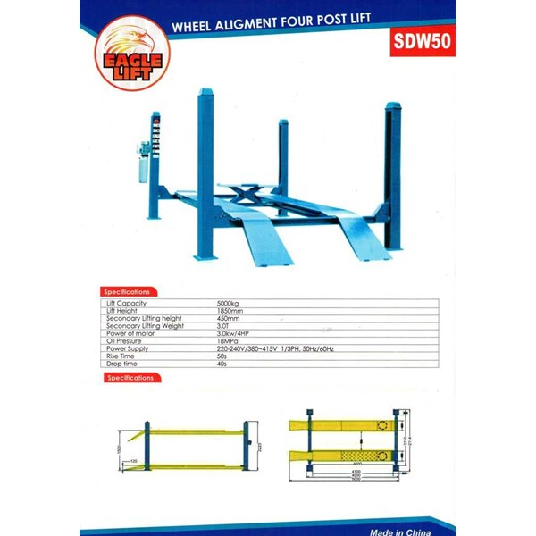 four post lift eagle lift sdw-50