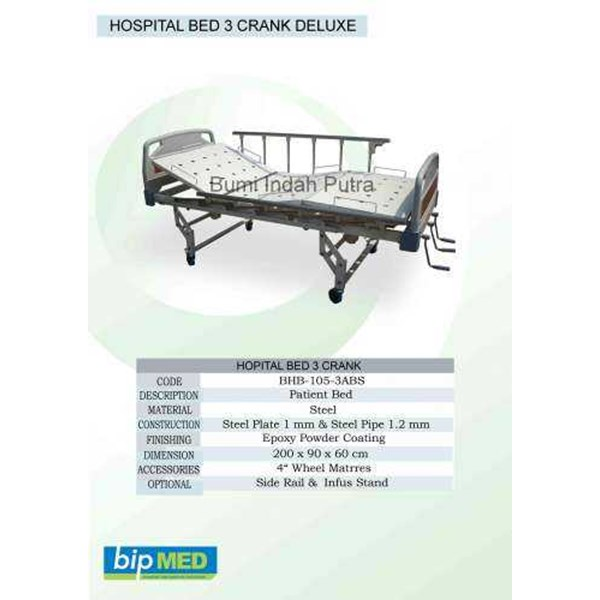 hospital bed 3 crank deluxe abs