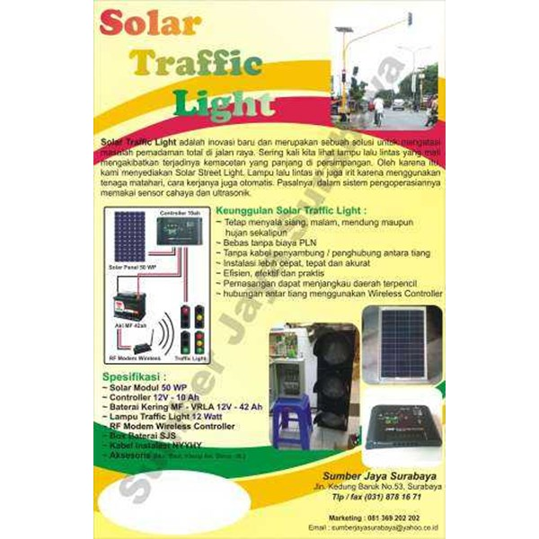 lampu traffic light solar cell type wireless controller-2