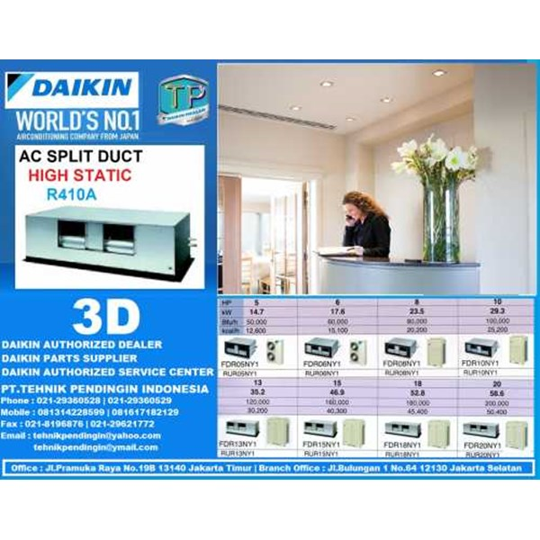 harga daikin split duct high static 5-20 pk ( fdr 05 | 06 | 08 | 10 | 13 | 15 | 18 | 20 | kay14 | ny14) packaged series r-410a