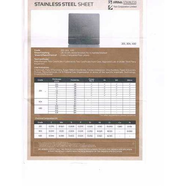 stainess steel sheet jindal