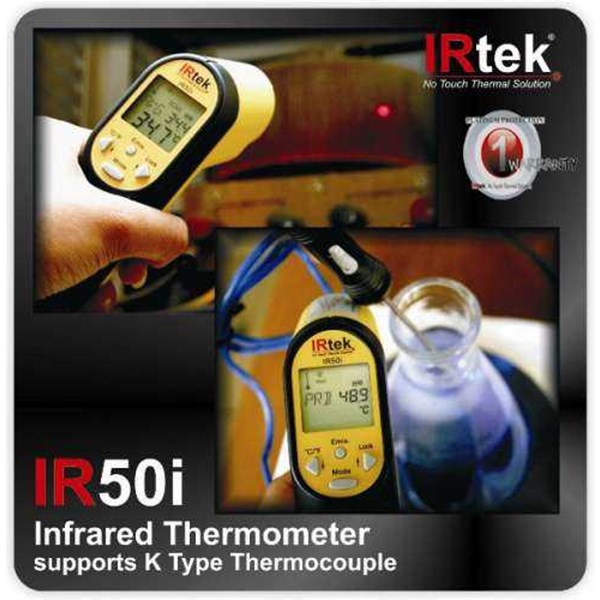 irtek ir50i infrared thermometer supports k-type thermocouple