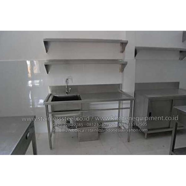 meja sink | wastafel stainless | single sink with open front bar-2