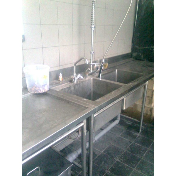 meja sink | wastafel stainless | single sink with open front bar-1