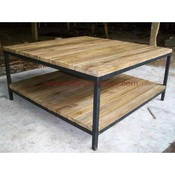 meja kopi kayu jati bekas kombinasi frame besi ( reclaimed teak coffee table with iron frame support)
