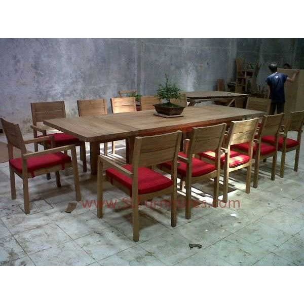 meja makan set ekstensi kayu jati ( extension teak dining set)
