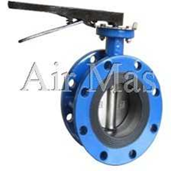 butterfly valve double flange end lever type