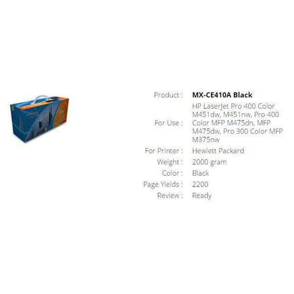 toner cartridge orimax mx-ce410a black
