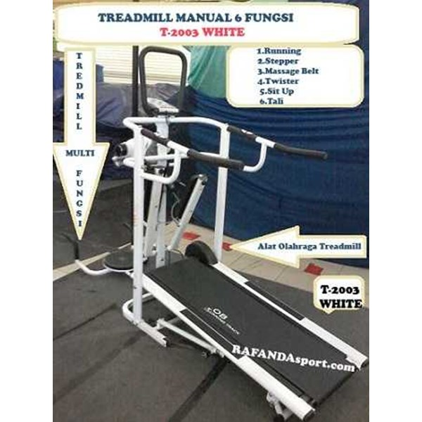 treadmill manual 6 fungsi new t-2003 white ( treadmill obfit)
