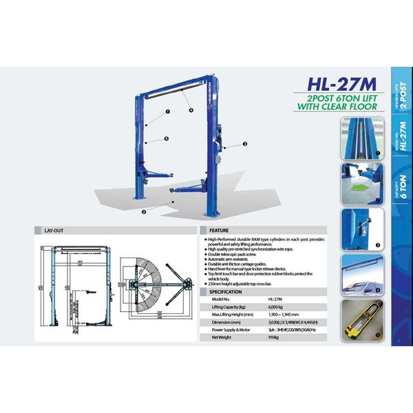 two post lift clear base frame heshbon hl-27m (lift perbaikan mobil)